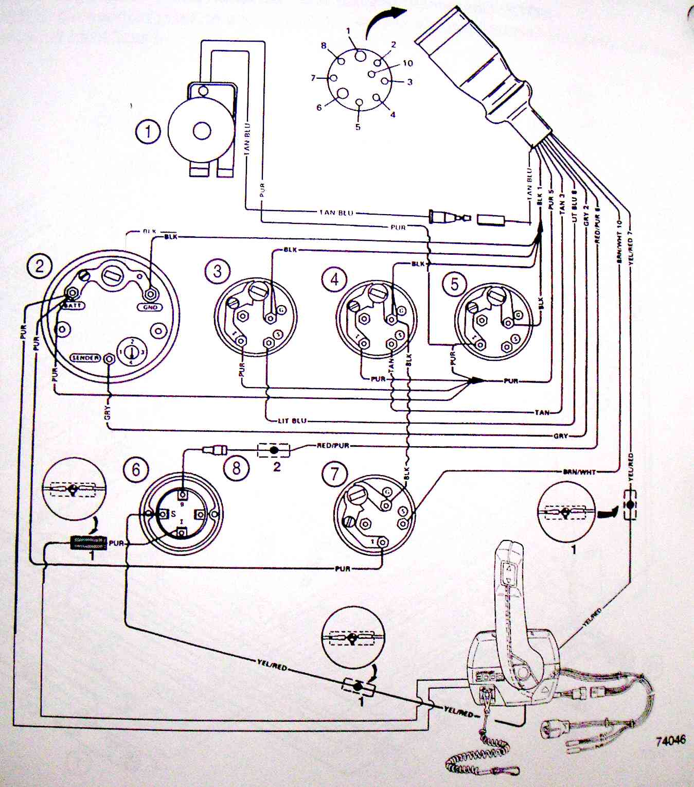 BoatHarness74046 yamaha outboard motor wiring diagrams the wiring diagram yamaha 10 pin wiring harness diagram at bayanpartner.co